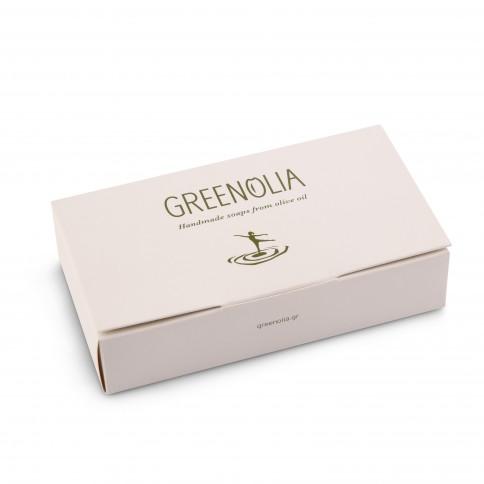 Coffret cadeau savons à l'huile d'olive Greenolia à l'huile d'olive grecque, petit format, fermé
