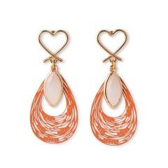 Boucles d'oreilles Milos, bijoux grec authentique plaqué or et verre. Vue de face