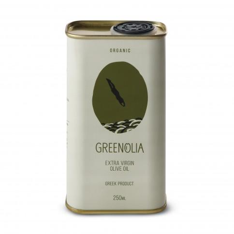 Huile d'olive bio extra vierge bio Amphissis/Koroneiki Greenolia, 250ml, vue de face