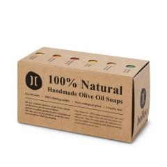 Coffret de 6 petits savons artisanaux à l'huile d'olive grecque bio, vue du coffret