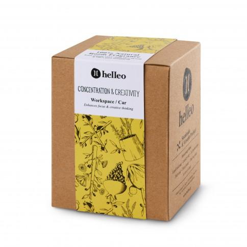 Parfum d'intérieur stimulant aux huiles essentielles et huile d'olive grecque bio, vue de la boîte