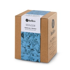 Parfum d'intérieur rafraichissant aux huiles essentielles et huile d'olive bio Helleo, vue de face de la boîte
