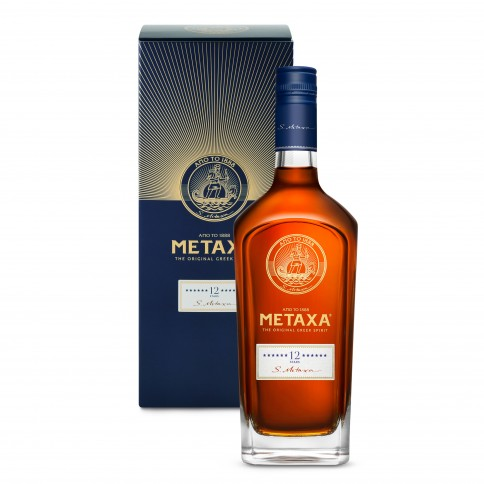 Metaxa 12 étoiles 700ml, alcool grec d'exception, vue de face avec sa boîte