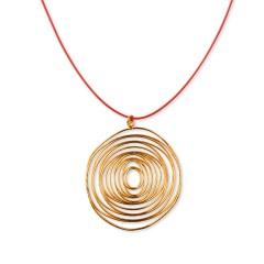 Pendentif plaqué or 24K Cyclope fabriqué en Grèce, collier rouge, détail