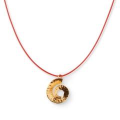 Pendentif doré Spirale - Rouge