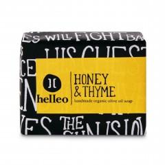 Savon à l'huile d'olive bio, miel et thym Helleo 30g, vue de face