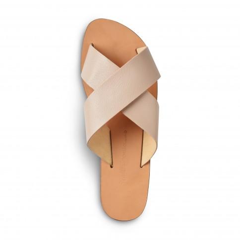 Sandales grecques vegan Kalliopi, fabriquées à la main en Crète, vue de dessus