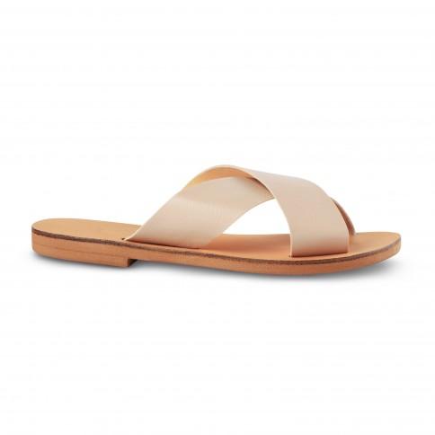 Sandales grecques vegan Kalliopi, fabriquées à la main en Crète, vue de profil