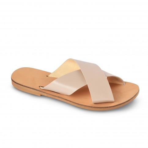Sandales grecques vegan Kalliopi, fabriquées à la main en Crète, vue de 3/4