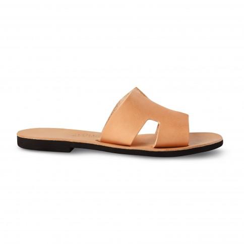 Sandales grecques en cuir Kleio, fabriquées à la main en Crète, vue de profil
