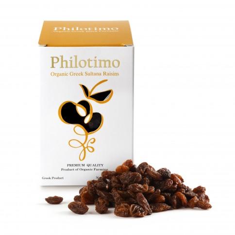 Raisins secs biologiques sultana grecs 200g Philotimo, boîte avec raisins vus de face