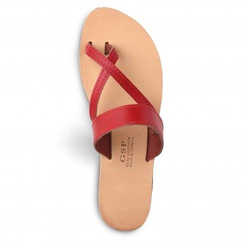 Sandales grecques en cuir rouge Aphrodite, fabriquées à la main en Crète, vue de haut