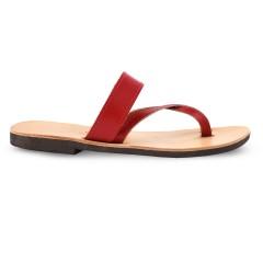 Sandales grecques en cuir rouge Aphrodite, fabriquées à la main en Crète, vue de profil