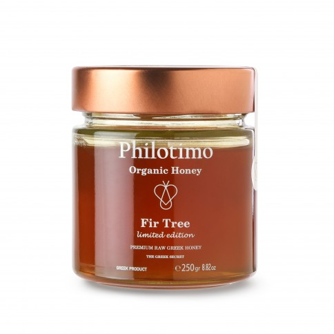 Organic Fir honey of Arcadia 250g Philotimo The Greek Secret jar front view