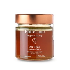 Organic Fir honey of Arcadia 250g Philotimo The Greek Secret jar front view