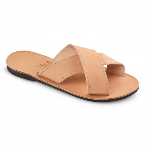 Sandales grecques en cuir Apollon, fabriquées à la main en Crète, vue de 3/4