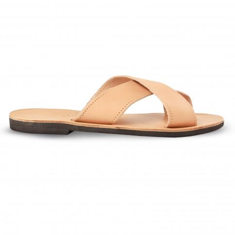 Sandales grecques en cuir Apollon, fabriquées à la main en Crète, vue de profil