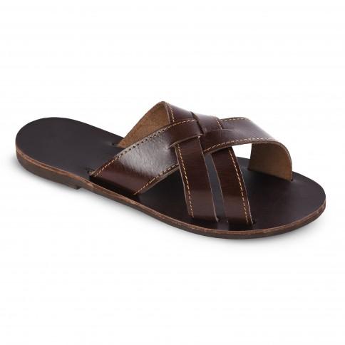 Sandales grecques en cuir Zeus, fabriquées à la main en Crète, vue de 3/4