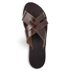 Sandales grecques en cuir Zeus, fabriquées à la main en Crète, vue de dessus