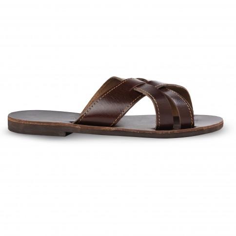Sandales grecques en cuir Zeus, fabriquées à la main en Crète, vue de profil