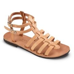 Sandales grecques en cuir Theano, fabriquées à la main en Crète, vue de 3/4