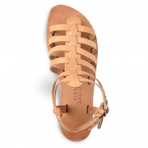 Sandales grecques en cuir Theano, fabriquées à la main en Crète, vue de dessus