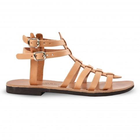 Sandales grecques en cuir Theano, fabriquées à la main en Crète, vue de profil