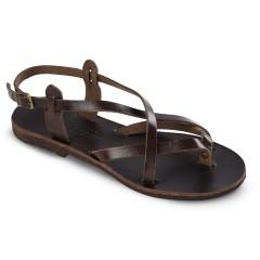 Sandales grecques en cuir Thaleia, fabriquées à la main en Crète, vue de 3/4