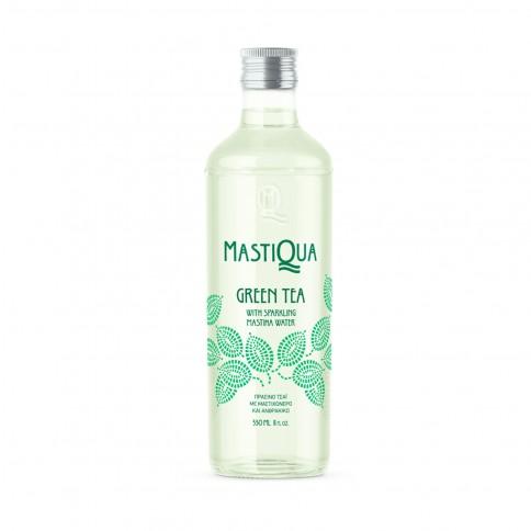 Mastiqua green tea, sparkling water with mastic and green tea 330ml MASTIQUA front view