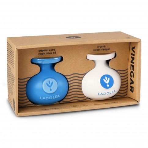Coffret huile d'olive bio Patrinia et vinaigre doux bio 2x80ml Ladolea vu de face avec packaging