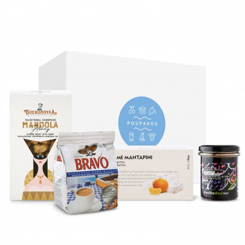 """Gift box """"The essentials of greek coffee"""" POUPADOU, front view"""
