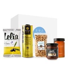 """Coffret cadeau """"les essentiels"""" contenant des spécialités grecques traditionnelles et artisanales"""