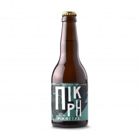 Bière grecque artisanale IPA Pikri, bouteille de 33cl, vue de face