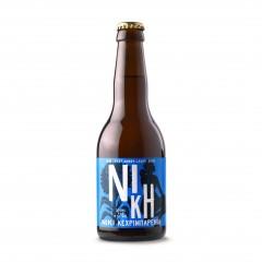 Bière grecque artisanale Niki lager ambrée, bouteille de 33cl vue de face.
