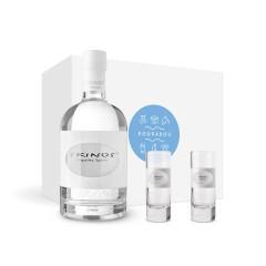 """Καλάθι δώρου """"Λικέρ Skinos & τα ποτήρια του"""" POUPADOU, μπροστινή όψη"""