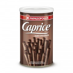 Box of greek wafers filled with hazelnut paste in dark chocolate version, Caprice dark,front view, 400g