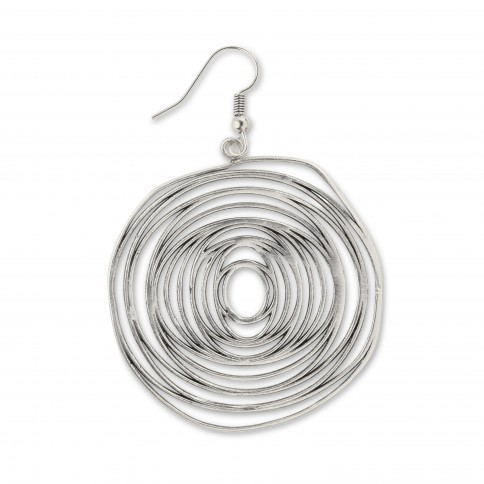 Σκουλαρίκι Κύκλωπας ασημί αντικέ Poupadou, μπροστινή όψη
