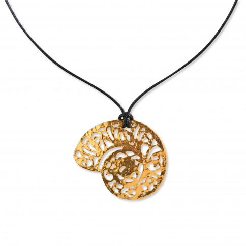 "Pendant ""Saligkari"" gold plated POUPADOU, front view"