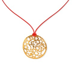 Pendant Santorini gold plated red POUPADOU, front view