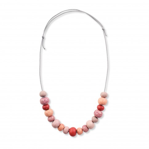 Sifnos necklace with ceramic beads multi pink Poupadou, front view