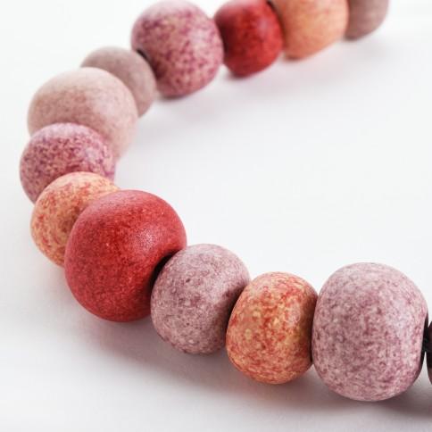 """Κολιέ """"Σίφνος"""" με κεραμικές πέτρες multi ροζ Poupadou, κεραμικές πέτρες όψη"""