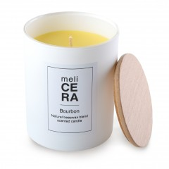 Bourbon artisanal candle 24cl Melicera, front view