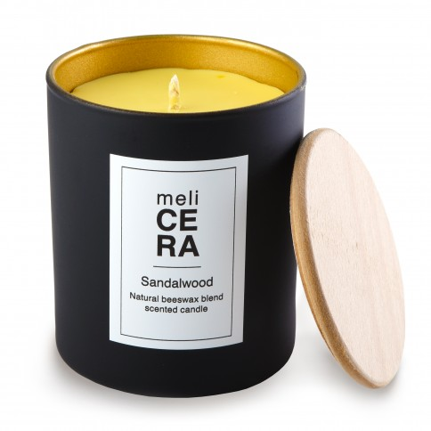 Χειροποίητο κερί Σανδαλόξυλο 30cl Melicera, μπροστινή όψη