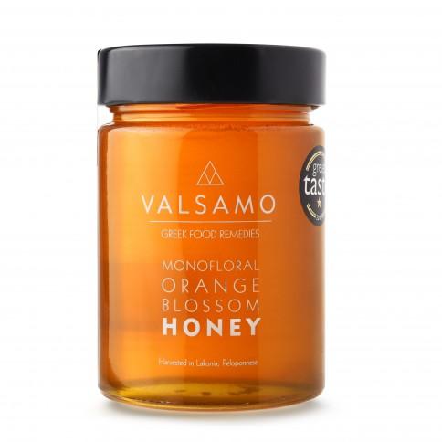 Miel grec à la fleur d'oranger de Lakonia Valsamo 460g, vu de face