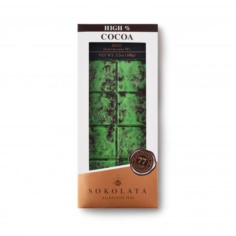 Chocolat noir 70% à la menthe artisanal Sokolata Agapitos, vu de face