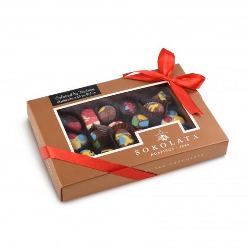 Assortment of Easter chocolates and pralines Sokolata Agapitos, front view