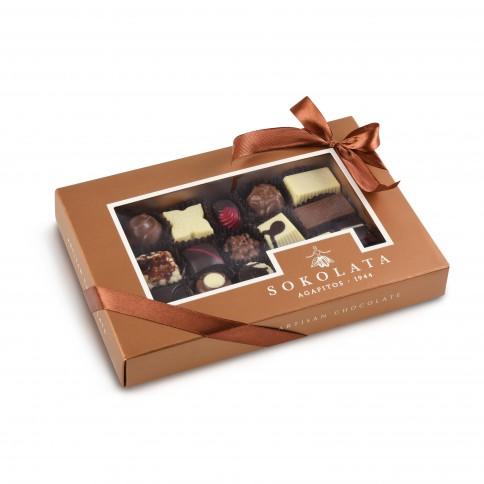 Assortment of chocolates and pralines Sokolata Agapitos, front view