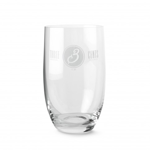 Three Cents Glass for greek artisanal sodas and tonics, front view