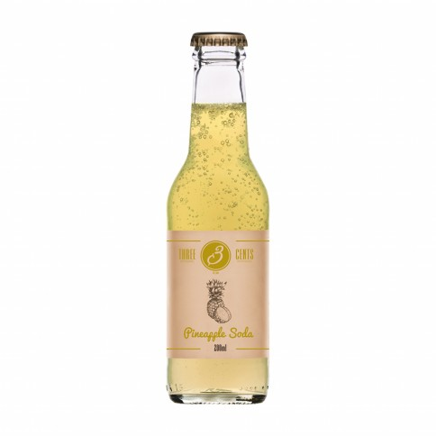 Pineapple Soda 200ml THREE CENTS front view