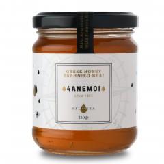 Pot de miel de Grèce Melicera 4Anemoi aux fleurs sauvage, 250g vu de face